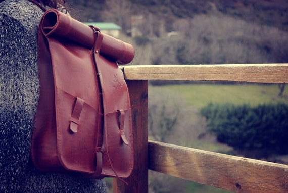 Leather backpack handmade in tan color. Computer bag Ludena. Brown Leather backpack.