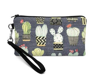 Cactus Smartphone Wristlet, Cacti iPhone 8 Plus Case, Galaxy S8 Purse, Small Makeup Bag, Padded Cell Phone Pouch -  gray cactus
