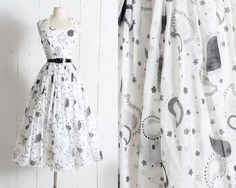 Vintage 1950s Dress | vintage 50s paisley white black print halter dress | rhinestone accents | party cocktail bridal summer wedding | xs