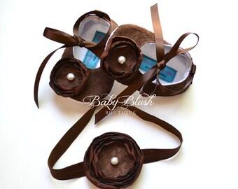 Braun Lace Baby Ballerina Hausschuhe mit passendem Stirnband