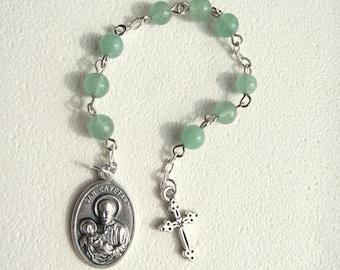 Handmade Chaplet of Saint Cayetano Cajetan Gaetano Green Aventurine Rosary