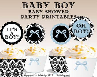 DAMASK Baby Shower Party Printables -INSTANT DOWNLOAD Cupcake Toppers  and Wrappers