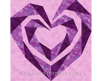 Twisting Spiral Heart quilt block, paper pieced quilt patterns PDF instant download heart quilt pattern heart patterns wedding quilt pattern