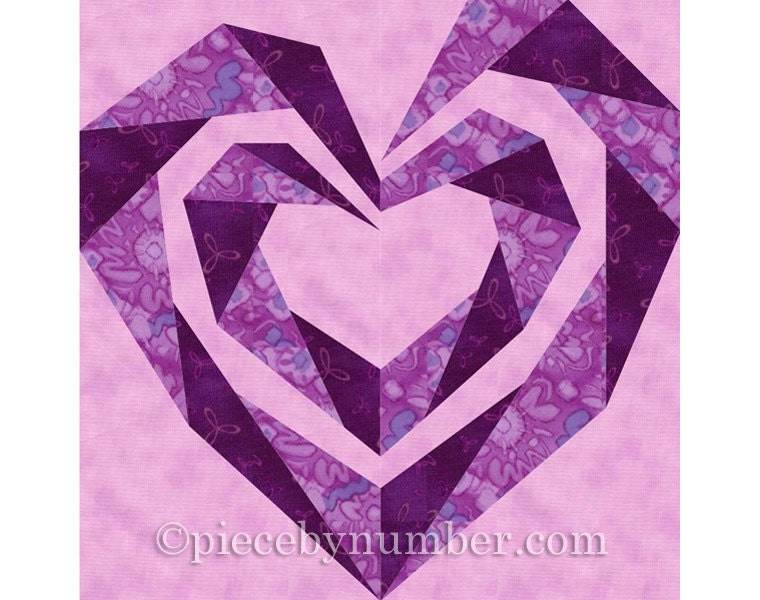 Twisting Spiral Heart quilt block paper pieced quilt patterns : wedding quilt block pattern - Adamdwight.com