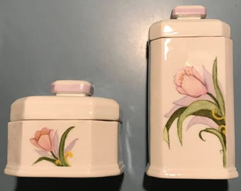 Set of two handpainted porcelain containers with lids