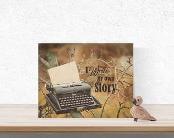 Inspirational Wood Wall Art, Typewriter Wall Art, Antique Typewriter Art on Wood, Vintage Typewriter Royal, Writer Gifts, Author Gift