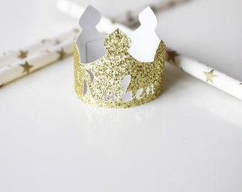 10 mini gold glitter crowns customized to your child's name
