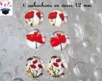 6 glass cabochons 12 mm for loop theme poppy number 4