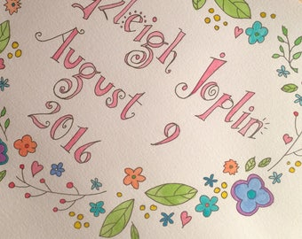 Birth Announcement or Baby Name Illustration