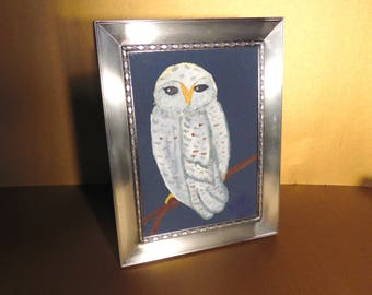 Pewter SHEFFIELD Picture Frame, 5 x 7, with Original Oil Owl Painting