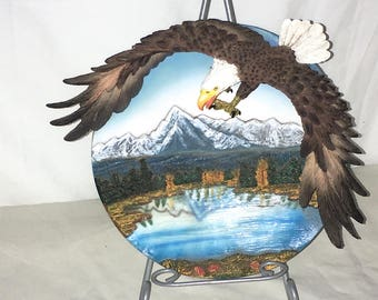 """3D Resin Eaglewith Talons out Swooping Collectors Plate 8.25"""" Copyright G.A."""