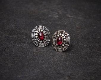 Garnet Earrings, Garnet Studs, Garnet and Silver, Detailed Silver Studs, Cabochon Garnet, Sterling Silver