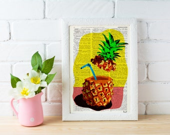 Pineapple cocktail poster print,giclee art print Wall art pineapple- Art print Pineapple original artwork Printed BFL094