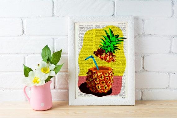 Pineapple cocktail poster print,giclee art print Wall art pineapple- Art print Pineapple original artwork Printed BFL094