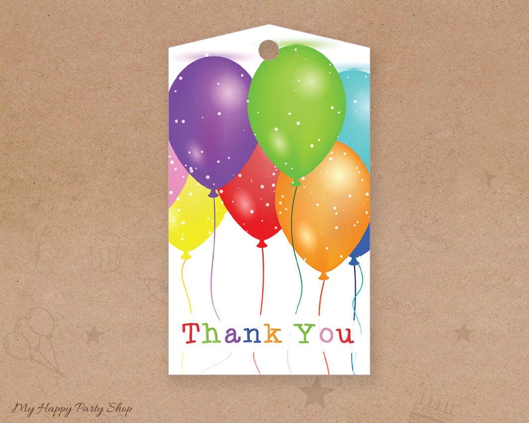 Balloon Tag: Balloons Favor Tags, Balloons Thank You Tags, Birthday