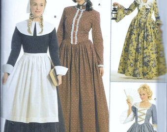 Simplicity Pattern 3723 Pilgrim Colonial French Pioneer Adult Costume Sewing Pattern Early American Prairie Plus Size 14, 16, 18, 20 and 22
