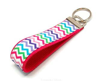 Hot Pink Chevron Key Fob Keychain - Multi Color Wristlet - Keychain - Sweet 16 gifts - Drivers ed - Under 10 gifts - Bridesmaid