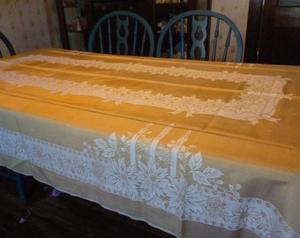 SALE Vintage Gold Damask Christmas Candles Poinsettias Tablecloth 56 X 96