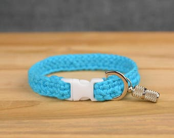 Crochet cat collars with ID tags Handmade collars for cats and small dogs