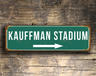 KAUFFMAN STADIUM SIGN, Vintage style Kauffman Stadium Sign, Kauffman Stadium Signs, Kansas City Royals, Baseball Signs, baseball, K C Royals