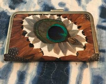 Beautiful Handmade Feather Coin Purse