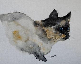 Watercolor cat painting, cat art, cat print, watercolor painting, siamese cat painting, cream, watercolor animals, siamese cat, - 6 x 9