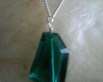 Emerald Glass Crystal Pendant Necklace,Sterling Silver Necklace Chain.