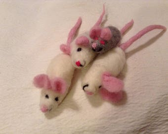 Hand Made Needle Felted Wool Cat Toy