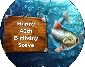 """Gone Fishing/Fishing  Personalised Pre Cut Icing/Rice Paper Cake Topper 7.5"""""""