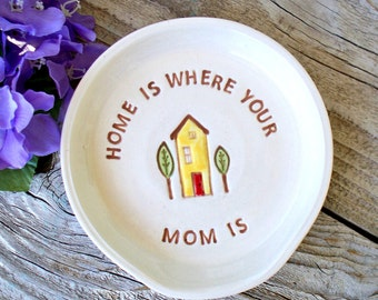 Ceramic Spoon Rest  Home is Where Mom Is - Personalized Spoon Rest Gift For Mom