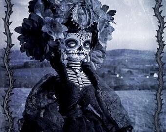 Beautiful Mortal Dia De Los Muertos Country Flower Doll PRINT 538 by Michael Brown