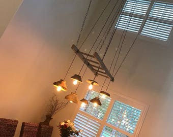 Vintage funnel ladder chandelier
