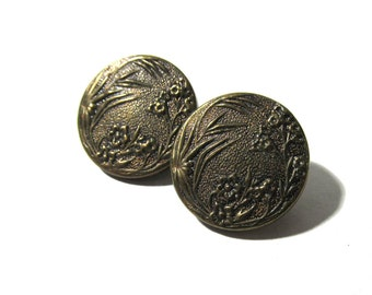 Victorian Paris Back Buttons Two (2) Industrie Parisienne Back Paris Victorian Buttons Matching Antique Jewelry Sewing Supplies (M55)