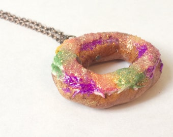 King Cake Necklace (Gold Plated or Copper)