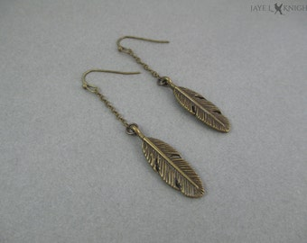 Feather Charm Earrings - Bronze