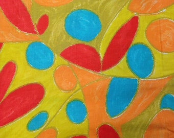 Vintage Fabric / Cotton Fabric / Red Yellow Blue / Abstract Floral / 1 1/2 Yard / Fabric by Yard / Vintage 1960 Fabric