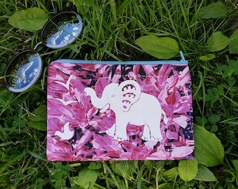Seagulls and Baby Elephant Botanical Pouch