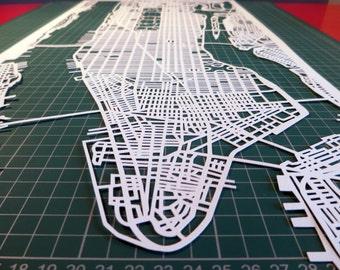 """Manhattan Map paper cut art city map 12"""" x 24"""""""