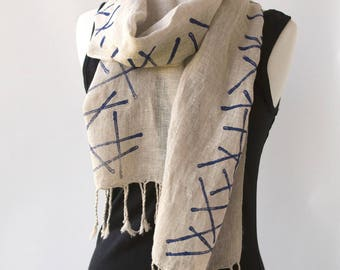 Natural Linen Scarf - Hand printed Scarves - Long Modern Cotton Scarf with Fringe - Blue Stripes