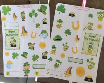 St. Patrick's Day owls/leprechauns planner stickers For Erin Condren, filofax, planners ,scrapbooks