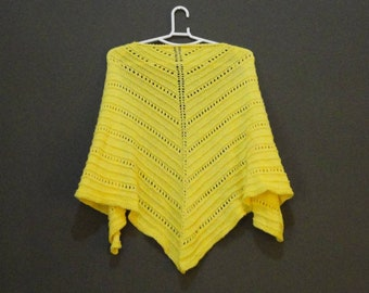 Handknitted yellow cotton shawl/wrap, unique, ready to ship