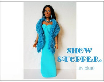 CHER Doll Clothes - SHOW STOPPER (in blue) Boa, Gown and Jewelry - fits vintage Mego Farrah, Tennille - Custom Fashion - by dolls4emma