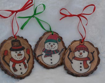 Set of 3 Woodburned and Hand Painted Snowman ornaments