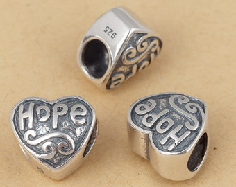 S925 Sterling Silver Heart shape hope beads Large hole/big hole European style bracelet charms beads , Antique silver ,10mm 1pc