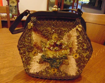 Vintage Veldore' of Houston Beaded Brown Purse (free shipping)