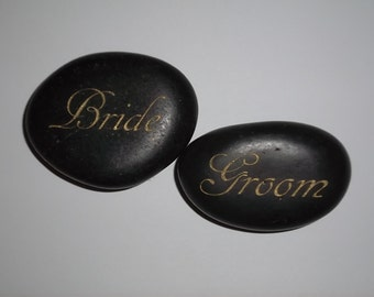 Bride and Groom Stones Engraved with Gold Lettering