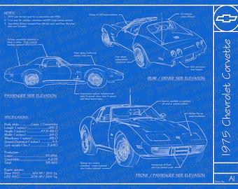 Corvette blueprint etsy malvernweather Image collections
