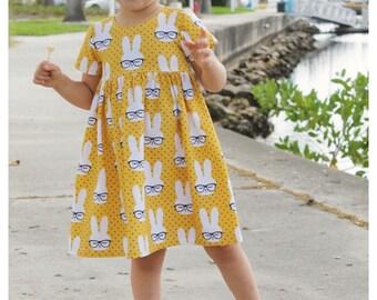 Hipster Bunny Dress, baby dress, toddler dress, girl dress, easter dress, spring dress, easter, spring, mustard dress, bunny dress, hipster
