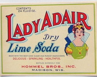 1920s Madison WI Lady Adair Soda Pop Label Hommel Brothers