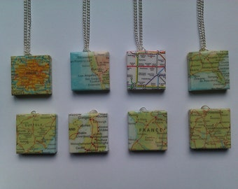 Glazed Scrabble Tile Necklace (Paper Map Covered)